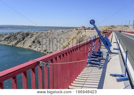 Equipment for bungee jumping on the bridge. Croatia.