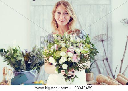 Beautiful florist at flower shop