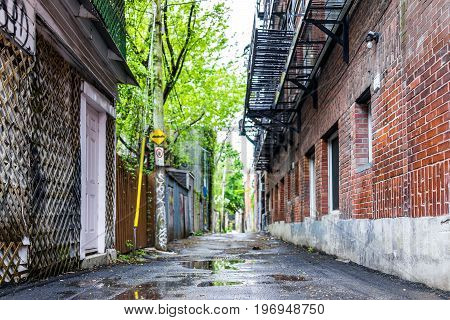 Montreal, Canada - May 26, 2017: Empty Street Alley In Plateau Area Of City In Quebec Region During