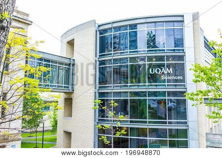Montreal, Canada - May 26, 2017: Uqam Science School In University With Glass Covered Bridge Between