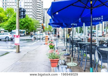 Montreal, Canada - May 26, 2017: Downtown Area Of City In Quebec Region With Restaurants And Cafe Wi
