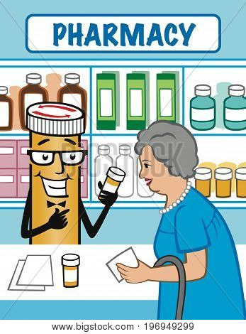 Illustration of an elderly woman asking the Pharmacist (pill bottle) about her medications.