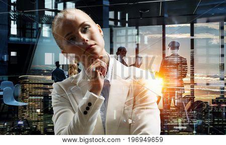 Thoughtful lady boss