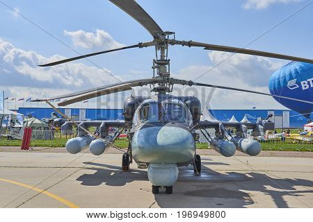 ZHUKOVSKY, RUSSIA, JUL. 21, 2017: Aerospace aircraft exhibition MAKS 2017. New generation battle helicopter KA-52 (Kamov) Alligator. Russian military helicopters. Russian military airforce