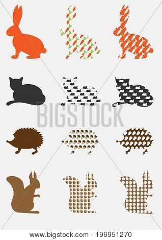 Silhouettes of animals with patterns isolated on a light background