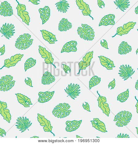 Seamless background with pixel tropical leaves on a light background.