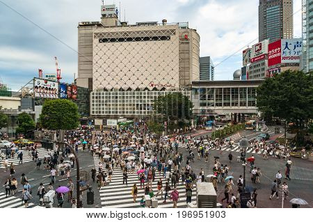 Aerial View Of Famous Shibuya Intersection