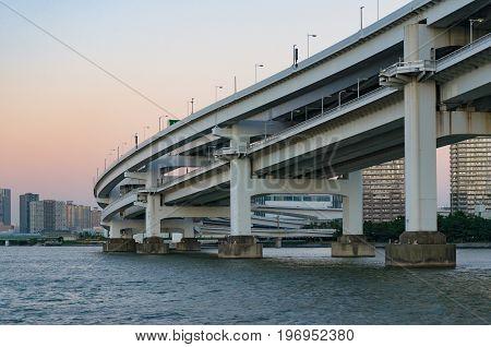 Close Up Of Multi Level Bridge. Modern Urban Infrastructure