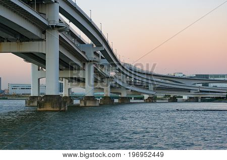 Multi Level Bridge. Modern Urban Infrastructure