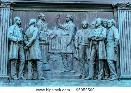 Swearing Senate General John Logan Memorial Civil War Statue Logan Circle Washington DC. Statue dedicated in 1901 Sculptors Franklin Simmons and Richard Hunt. Logan was close to US Grant promoted to Brigadier General at Fort Donelson won the Congressional