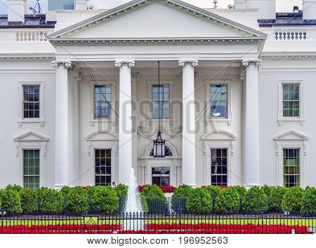 White House Door Red Flowers Chandelier Fountain Pennsylvania Ave Washington DC