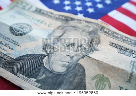 Money With American Flag Close Up High Quality