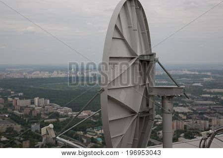 Concept communication satellite antenna roof receiver backdrop