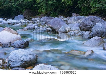 Rapid Mountain River Flowing Over Rocks