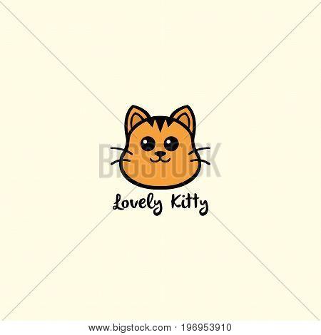 Lovely Kitty, Cute Cat Logo Vector Design Illustration
