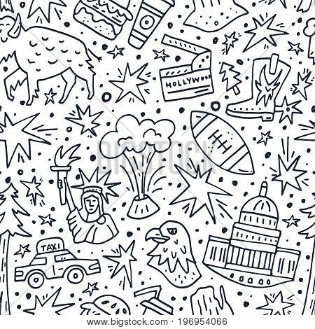 Seamless pattern with symbols of United States of America. USA vector texture.