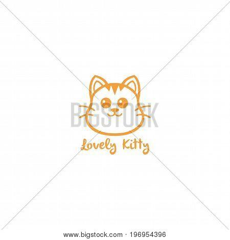 Lovely Kitty, Cute Cat Yellow Line Art Logo Vector Design Illustration