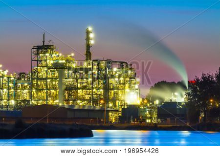 Industrial Chemical Area Detail At Sunset