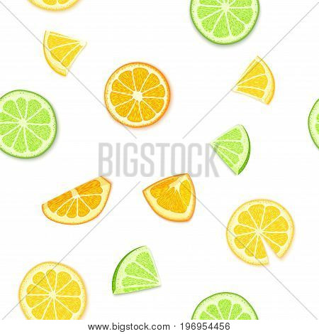 Ripe juicy tropical fruits background. Vector illustration. Fresh citrus lime orange lemon fruit peeled, piece of half, slice. Seamless pattern for packaging design healthy food diet juce, detox, tea.
