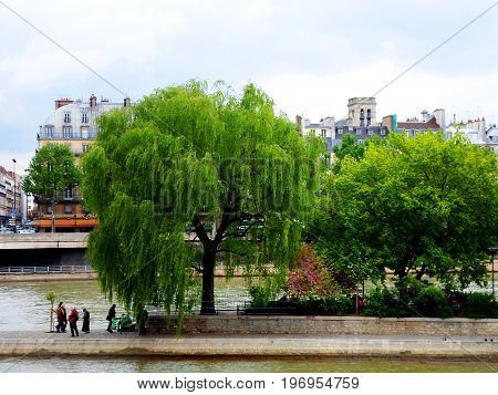 Seine river and the Cite island in Paris, France