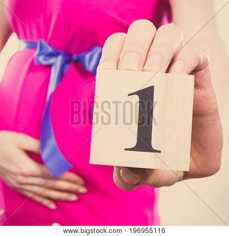 Vintage Photo, Hand Of Woman In Pregnant Showing Number Of First Month Of Pregnancy, Expecting For B
