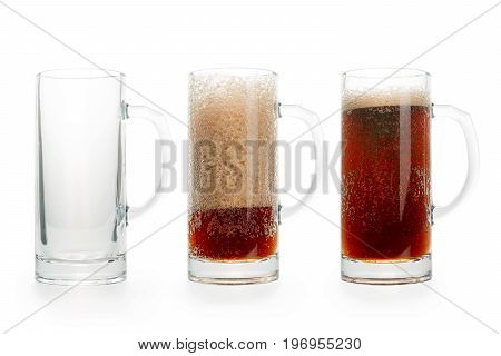 Three pints of dark beer. Empty half full and full. Isolated on white clipping path included