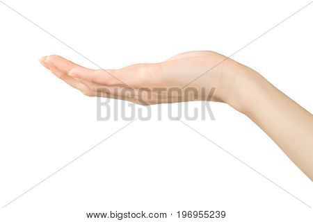 Beautiful woman hand showing holding or supporting something. Isolated on white clipping path included