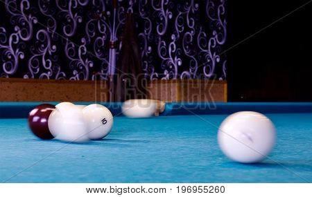 Action Shot Billiards Table Pool Cue and Balls.