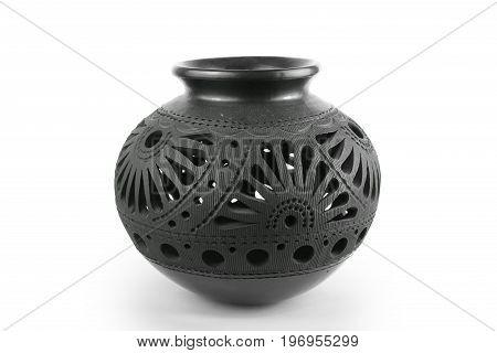 Black ornamental vase on white background for catalog