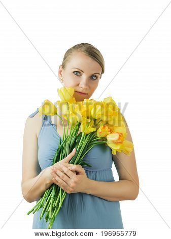 Beautiful woman with a bouquet of flowers isolated on white background. Portrait of a beautiful woman.