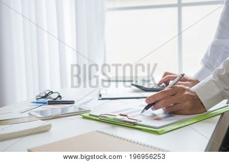 business man working in his home office business concept