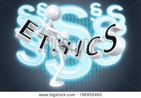 The Original 3D Character Illustration Kicking Ethics