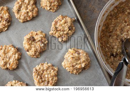 Healthy homemade banana and oatmeal cookies dough before baking. Ready to Bake