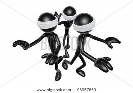 The Original 3D Characters Illustration Blindfolded