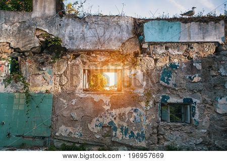 Ruins abandoned buildings.