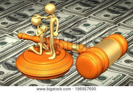 Pardon Law Gavel Concept 3D Illustration