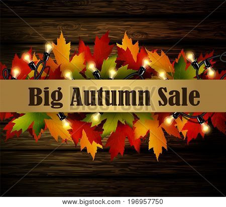 Big autumn special sale poster on isolated wodden background with patio lights