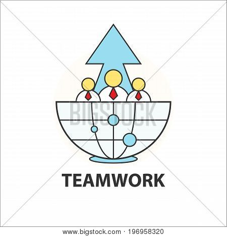 Teamwork icon businessman office worker connection business concept with globe and rise arrow