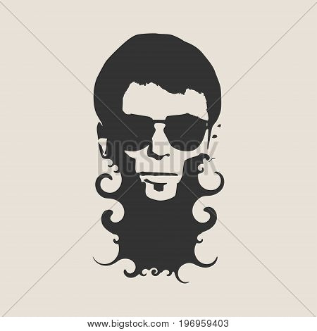 Man avatar front view. Isolated male face silhouette or icon . Vector illustration. Portrait with sunglasses