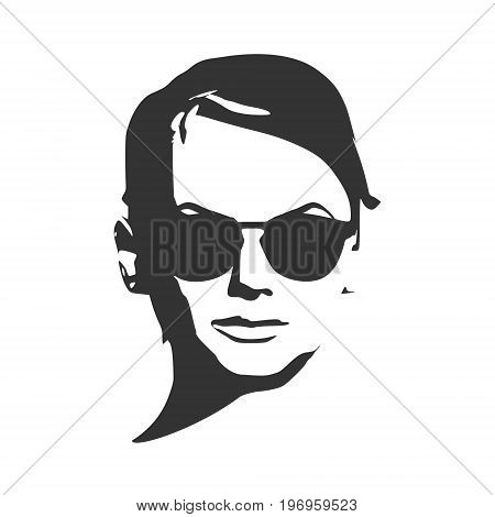 Portrait of beautiful woman in black sunglasses. Short hair. Front view