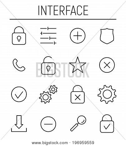 Set of interface icons in modern thin line style. High quality black outline symbols for web site design and mobile apps. Simple interface pictograms on a white background.