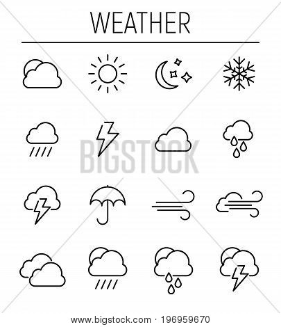 Set of weather in modern thin line style. High quality black outline cloud symbols for web site design and mobile apps. Simple weather pictograms on a white background.