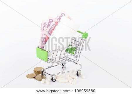 Two Hundred Hryvnias And Pills In The Shopping Pushcart