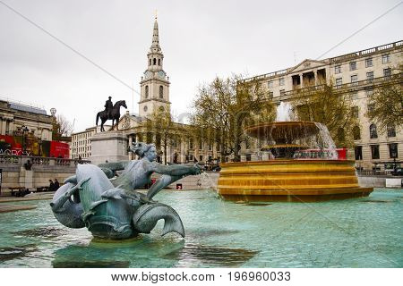 LONDON UK- April 16th 2016 : The Iconic water fountain in the Trafalgar Square, in the day.