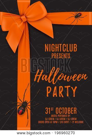 Halloween party poster with black gift box. Top view on Halloween gift box with orange bow and tapes. Design of flyer to night club. Vector illustration with black spiders. Invitation to nightclub.