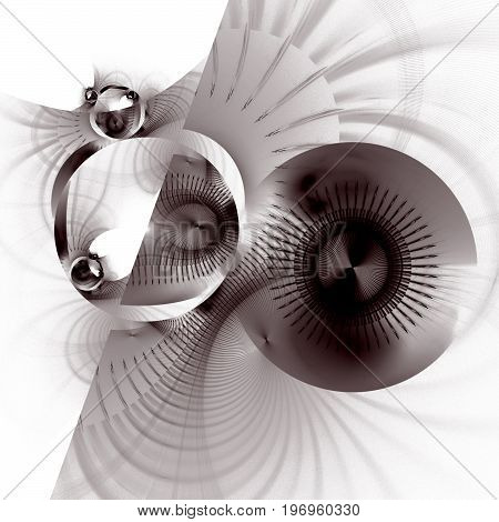Abstract Fantastic Mechanism On White Background. Digital Fractal Art. 3D Rendering.