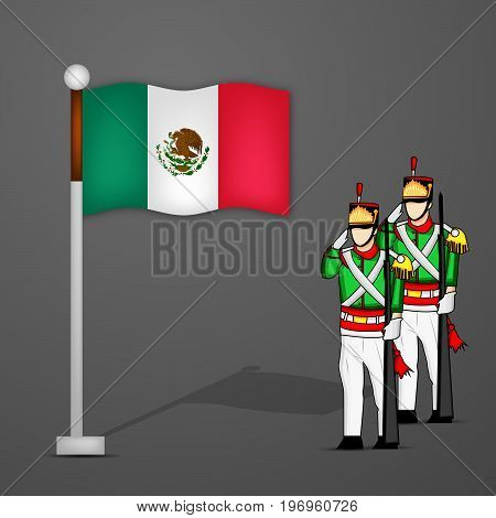 illustration of Mexico flag and soldiers saluting with Happy Independence Day Text on the occasion of Mexico Independence Day