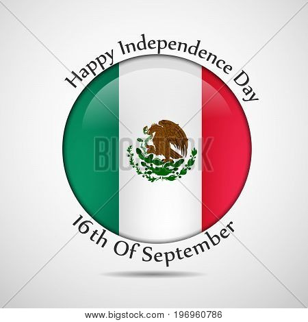 illustration of button in Mexico flag background with Happy Independence Day 16th of September text on the occasion of Mexico Independence Day