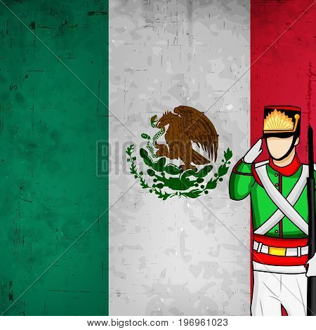 illustration of Soldier Saluting and mexico flag background with Happy Independence Day text on the occasion of Mexico Independence Day