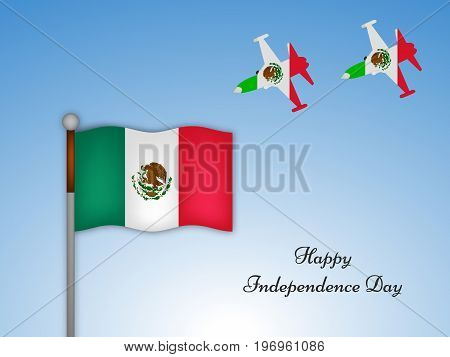 illustration of mexico flag and aircraft in mexico flag background with Happy Independence Day text on the occasion of Mexico Independence Day